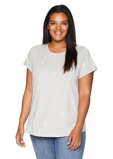 Lucky Brand Women's Size Plus Allover Embroidered Daisies TEE