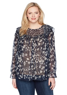 Lucky Brand Women's Size Plus Ruffle Floral TOP