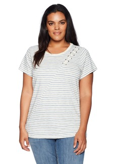 Lucky Brand Women's Size Plus Stripe LACE UP Shoulder TEE