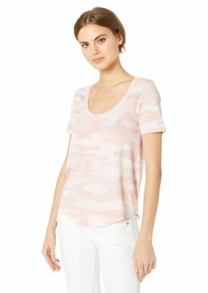 Lucky Brand Women's Sketched Rose CAMO TEE Mellow M