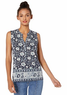 Lucky Brand Women's Sleeveless Border Print Henley TOP  L