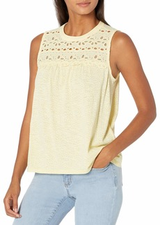 Lucky Brand Women's Sleeveless Crew Neck Embroidered Shiffly Top  L