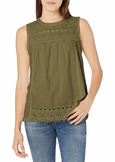 Lucky Brand Women's Sleeveless Crew Neck Embroidered Shiffly Top  XL