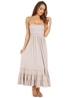 Lucky Brand Women's Sleeveless Halter Neck Boho Knit Maxi Dress  M