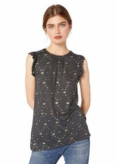 Lucky Brand Women's Sleeveless Metallic Ruffle Sleeve TOP  XS