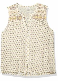 Lucky Brand Women's Sleeveless V Neck Button Up Border Print Top  L