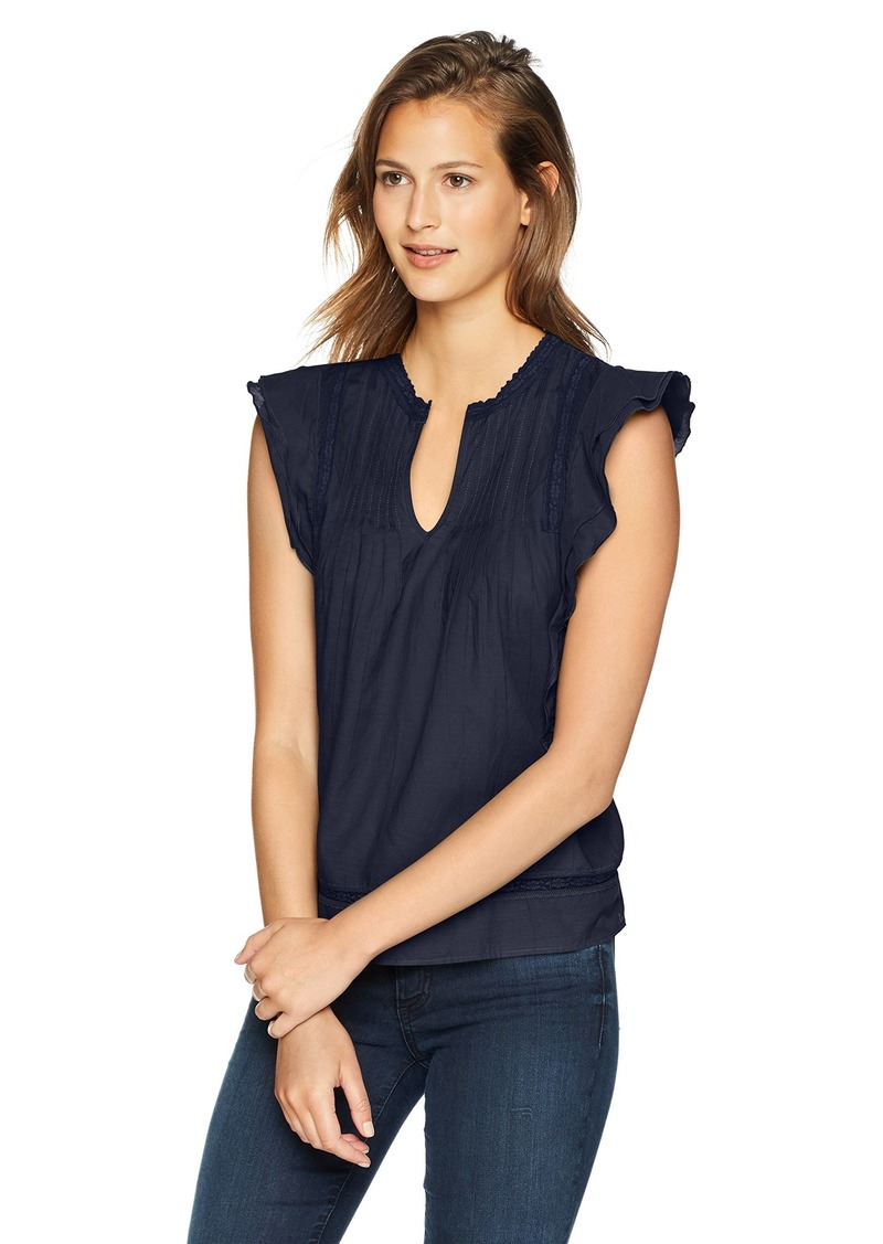 Lucky Brand Women's Solid Pintuck TOP  S