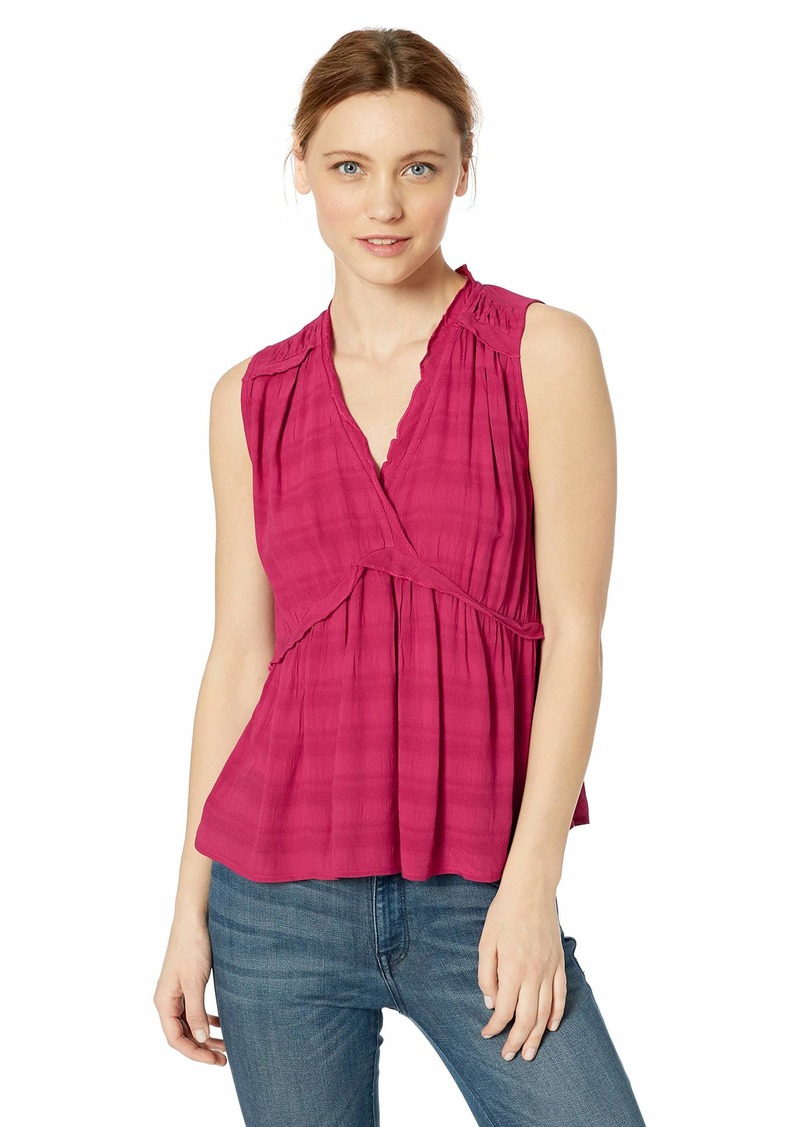 Lucky Brand Women's Solid Sleeveless Romantic Ruffle TOP  S