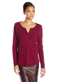Lucky Brand Women's Soutache Split Neck T-Shirt