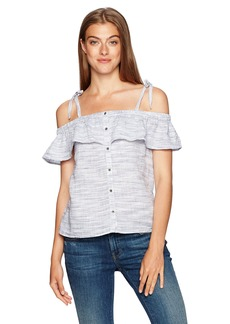 Lucky Brand Women's Space Dyed Ruffle Top