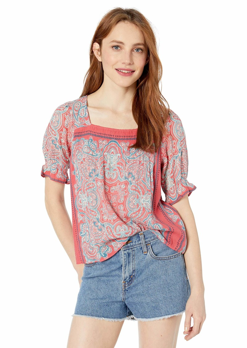 Lucky Brand Women's Square Neck Smocked TOP  XL