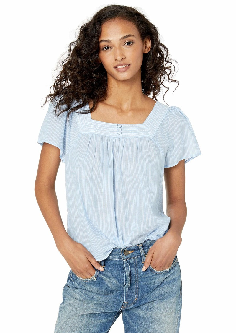 Lucky Brand Women's Square Neck Stripe Flutter Sleeve TOP  L