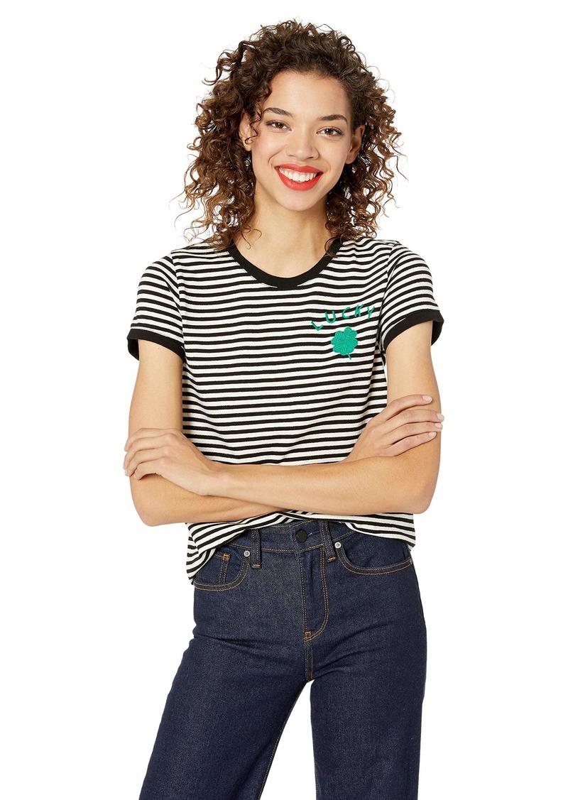 Lucky Brand Women's ST. Patrick's Stripe TEE Black L