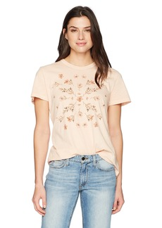 Lucky Brand Women's Stamp Flowers TEE  L