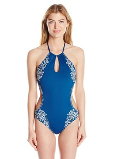 Lucky Brand Junior's Stitch in Time High Neck Monokini One Piece Swimsuit  M