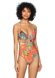 Lucky Brand Women's Strappy One Piece Swimsuit  L