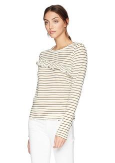 Lucky Brand Women's Stripe Asymetrical Ruffle Top  M