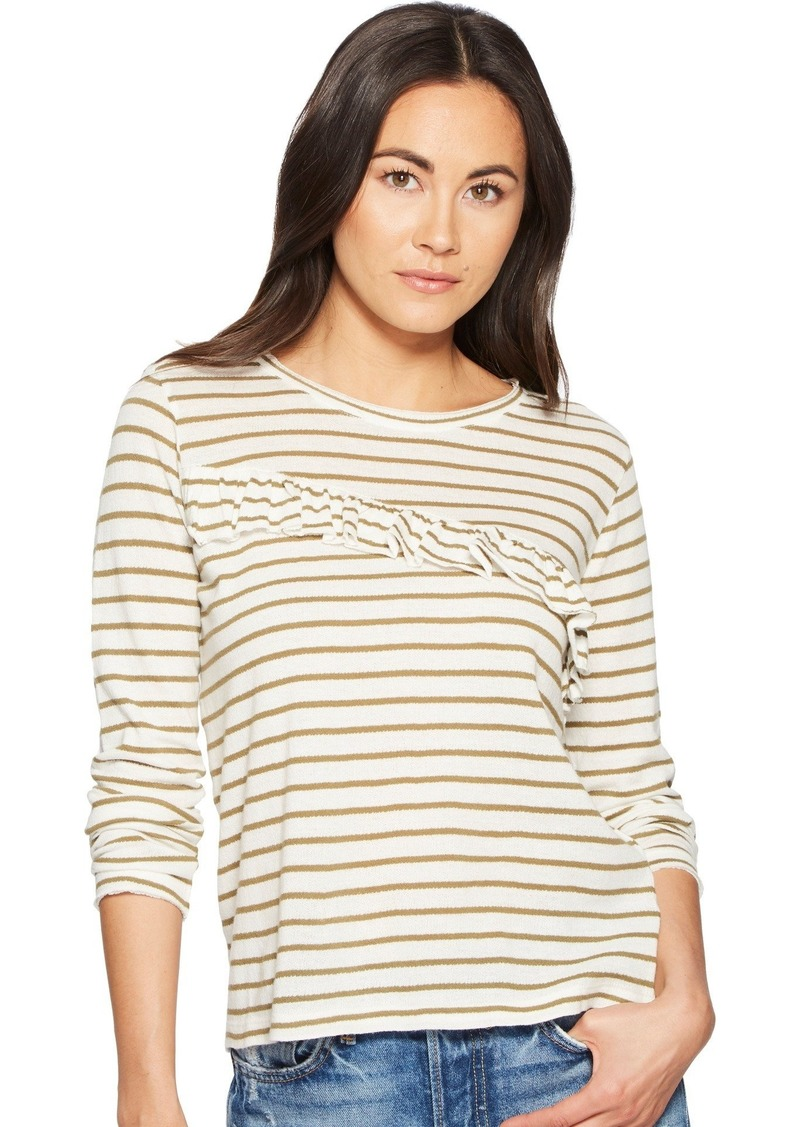Lucky Brand Women's Stripe Asymetrical Ruffle TOP Olive XL