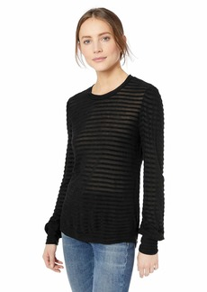 Lucky Brand Women's Stripe CHENNILE TOP Black L