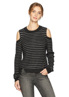 Lucky Brand Women's Stripe Cold Shoulder Pullover Sweater  M