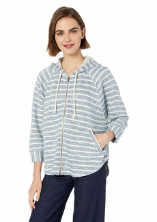 Lucky Brand Women's Stripe Hooded Poncho Sweatshirt  M