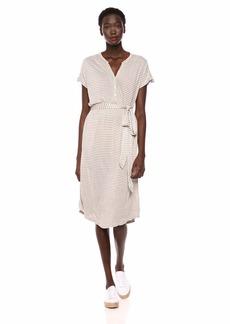 Lucky Brand Women's Stripe Knit Henley Dress Grey XS