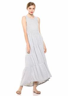 Lucky Brand Women's Stripe Ruched Maxi Dress Grey XL