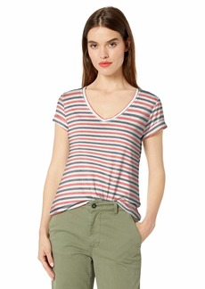 Lucky Brand Women's Stripe Venice Burnout V Neck TEE Red S