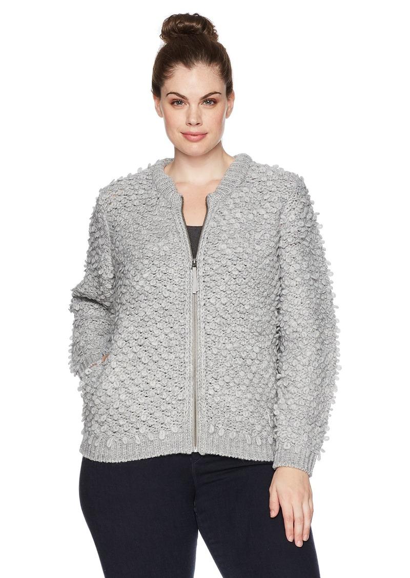Lucky Brand Women's Sweater Bomber Plus-Size Jacket