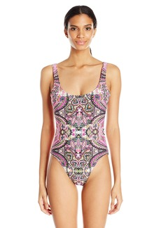 Lucky Brand Junior's Tapestry High Leg Tank Maillot One Piece Swimsuit  L
