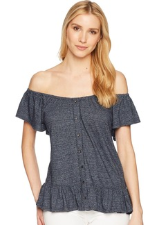 Lucky Brand Women's Textured Off Shoulder Peasant TOP  L