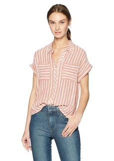 Lucky Brand Women's TIE Back Stripe Shirt red/Multi M