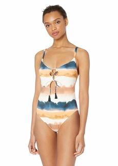 Lucky Brand Women's Tie Front One Piece Swimsuit  L