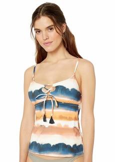Lucky Brand Women's Tie Front Tankini Swimsuit Top  L