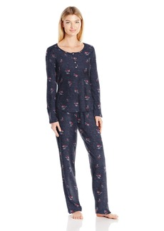 Lucky Brand Women's Triblend Jersey Pajama Set Ikat Botanical Garden Blazer Grey