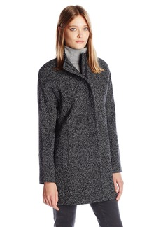 Lucky Brand Women's Tweed High Collar Wool Coat With Hidden Placket and Snap Buttons  L