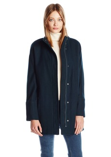 Lucky Brand Women's Tweed High Collar Wool Coat with Hidden Placket and Snap Buttons  S