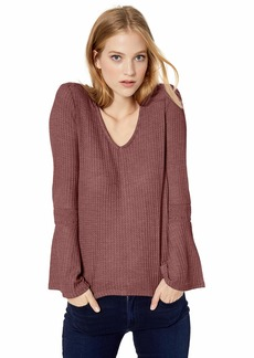 Lucky Brand Women's V-Neck Bell Sleeve Thermal Top  M