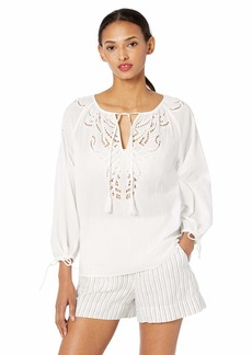 Lucky Brand Women's Vivienne Eyelet TOP  S