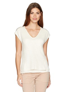 Lucky Brand Women's Vneck Mixed Stitch Sweater