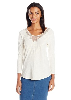 Lucky Brand Women's Washed Applique Top