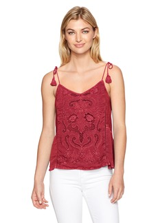 Lucky Brand Women's Washed Embriodered Top Biking red