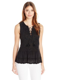 Lucky Brand Women's Washed Studded Tank Top Black