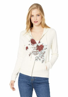 Lucky Brand Women's Water Color Floral Hooded Sweatshirt  M