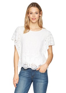 Lucky Brand Women's White Eyelet Top  XL
