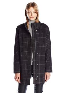 Lucky Brand Women's Windownpane High Collar Wool Coat with Hidden Placket  L