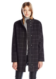 Lucky Brand Women's Windownpane High Collar Wool Coat with Hidden Placket  M