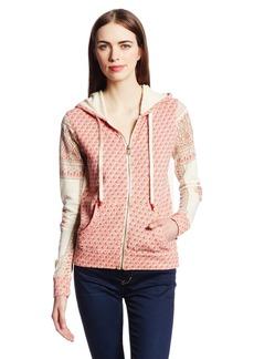 Lucky Brand Women's Wood Block Placed-Print Zip-Up Hoodie Sweatshirt