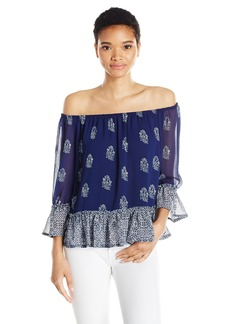 Lucky Brand Women's Woodblock Off The Shoulder Top