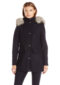Lucky Brand Women's Wool Anorak with High Collar and Faux Fur Hood  L